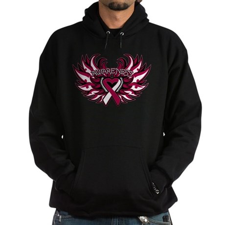 Head Neck Cancer Heart Wings Hoodie (dark)
