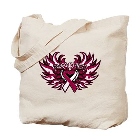 Head Neck Cancer Heart Wings Tote Bag