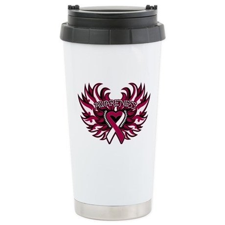 Head Neck Cancer Heart Wings Ceramic Travel Mug