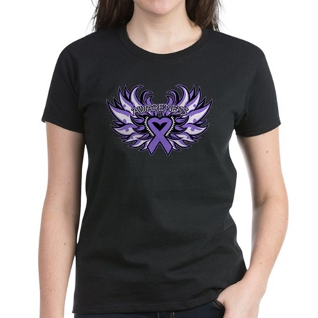 Hodgkins Lymphoma Heart Wings Women's Dark T-Shirt