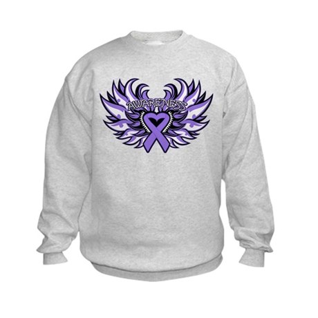 Hodgkins Lymphoma Heart Wings Kids Sweatshirt