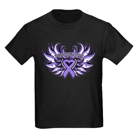 Hodgkins Lymphoma Heart Wings Kids Dark T-Shirt