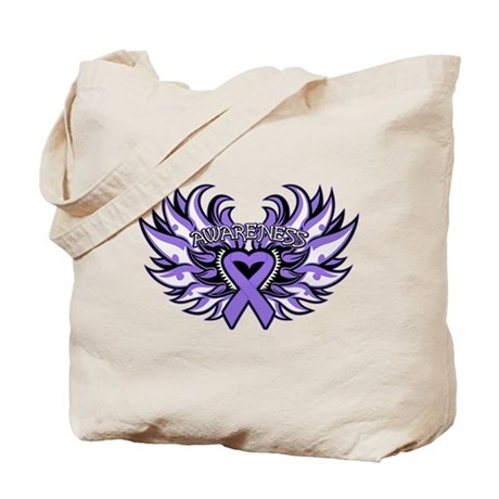 Hodgkins Lymphoma Heart Wings Tote Bag