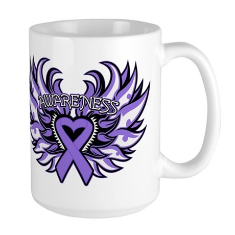 Hodgkins Lymphoma Heart Wings Large Mug