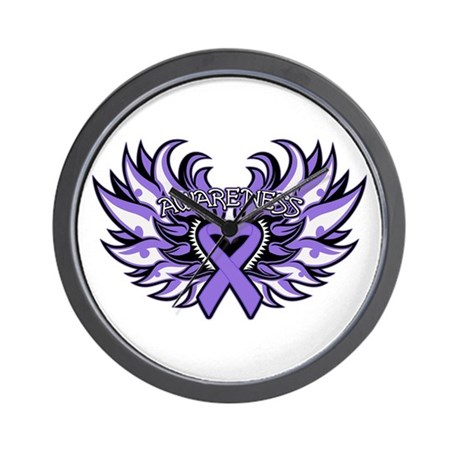 Hodgkins Lymphoma Heart Wings Wall Clock