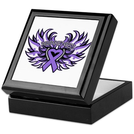 Hodgkins Lymphoma Heart Wings Keepsake Box