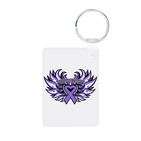 Hodgkins Lymphoma Heart Wings Aluminum Photo Keych