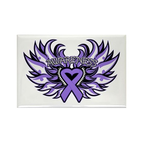 Hodgkins Lymphoma Heart Wings Rectangle Magnet