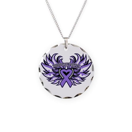 Hodgkins Lymphoma Heart Wings Necklace Circle Char