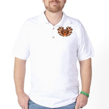 Kidney Cancer Heart Wings Golf Shirt
