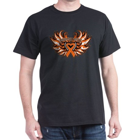 Kidney Cancer Heart Wings Dark T-Shirt