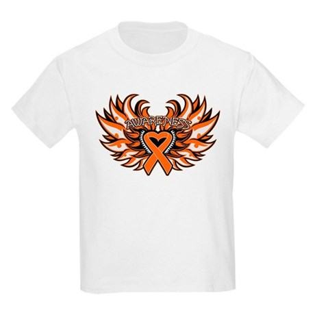 Kidney Cancer Heart Wings Kids Light T-Shirt