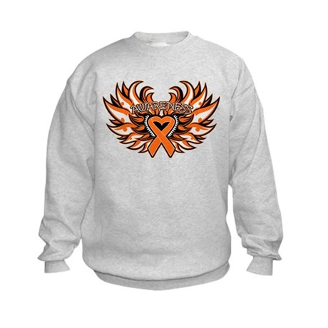 Kidney Cancer Heart Wings Kids Sweatshirt