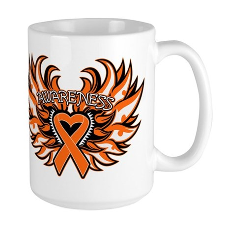 Kidney Cancer Heart Wings Large Mug