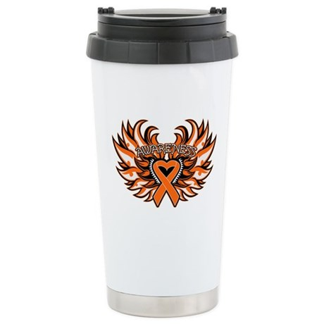 Kidney Cancer Heart Wings Ceramic Travel Mug