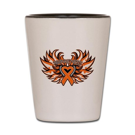 Kidney Cancer Heart Wings Shot Glass