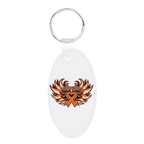 Kidney Cancer Heart Wings Aluminum Oval Keychain