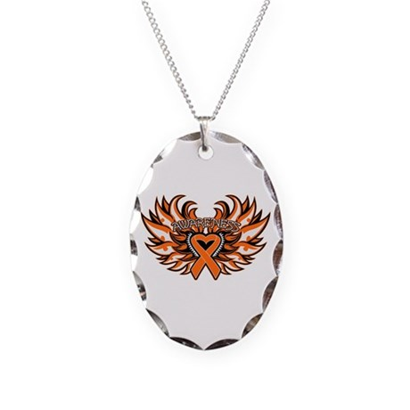 Kidney Cancer Heart Wings Necklace Oval Charm