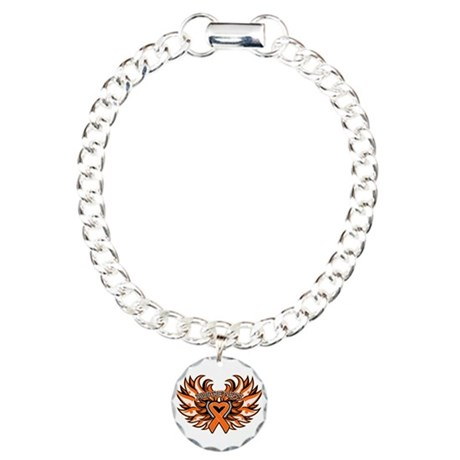 Kidney Cancer Heart Wings Charm Bracelet, One Char