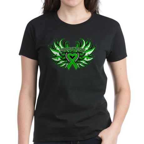 Kidney Cancer Heart Wings Women's Dark T-Shirt