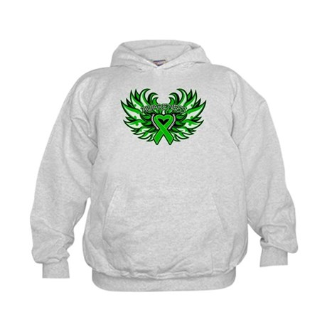 Kidney Cancer Heart Wings Kids Hoodie