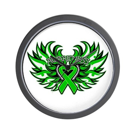 Kidney Cancer Heart Wings Wall Clock