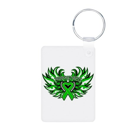 Kidney Cancer Heart Wings Aluminum Photo Keychain