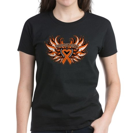 Leukemia Heart Wings Women's Dark T-Shirt
