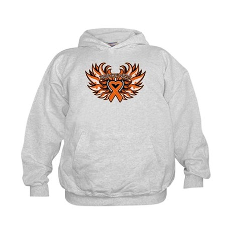 Leukemia Heart Wings Kids Hoodie