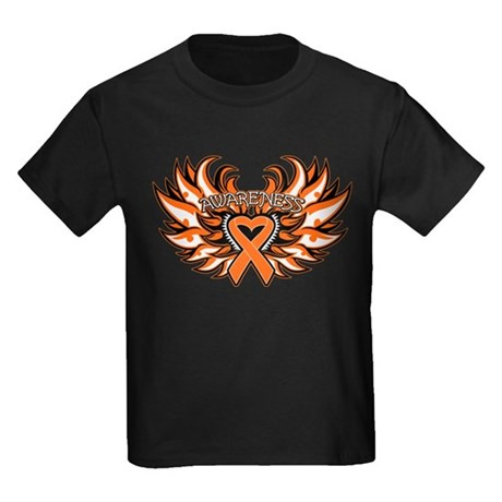 Leukemia Heart Wings Kids Dark T-Shirt