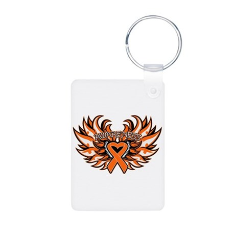 Leukemia Heart Wings Aluminum Photo Keychain