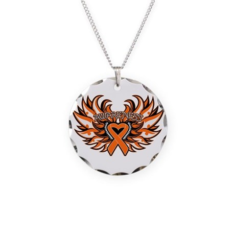 Leukemia Heart Wings Necklace Circle Charm