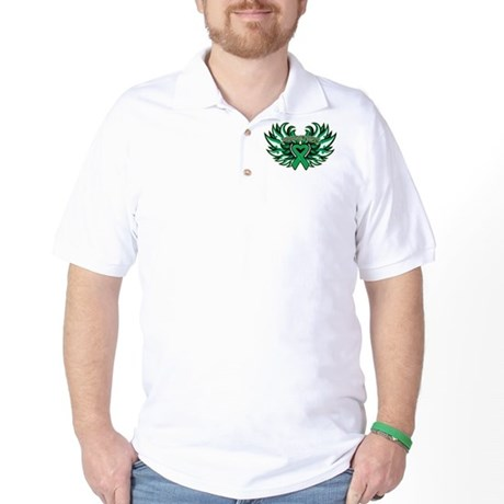 Liver Cancer Heart Wings Golf Shirt