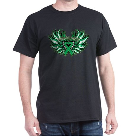 Liver Cancer Heart Wings Dark T-Shirt