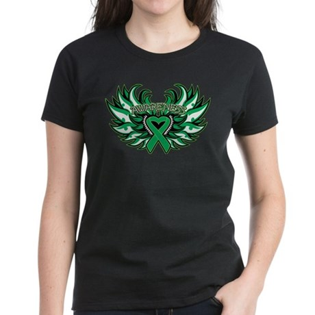 Liver Cancer Heart Wings Women's Dark T-Shirt