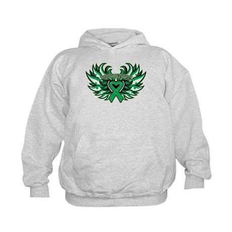 Liver Cancer Heart Wings Kids Hoodie
