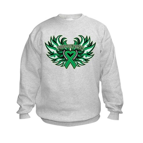 Liver Cancer Heart Wings Kids Sweatshirt