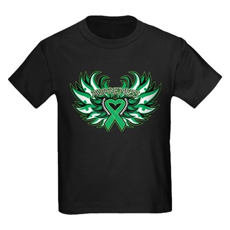 Liver Cancer Heart Wings Kids Dark T-Shirt