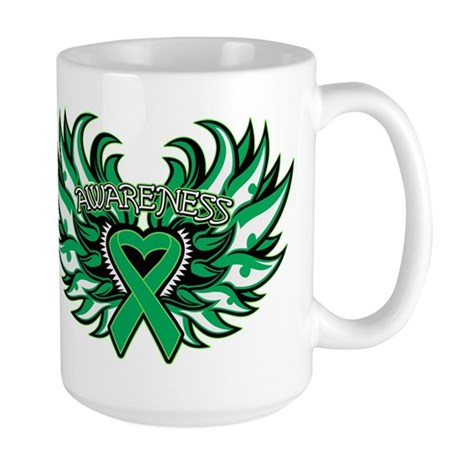 Liver Cancer Heart Wings Large Mug