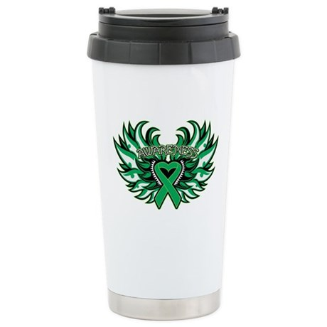 Liver Cancer Heart Wings Ceramic Travel Mug