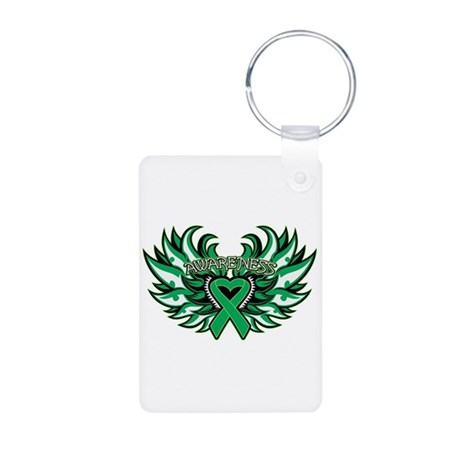 Liver Cancer Heart Wings Aluminum Photo Keychain
