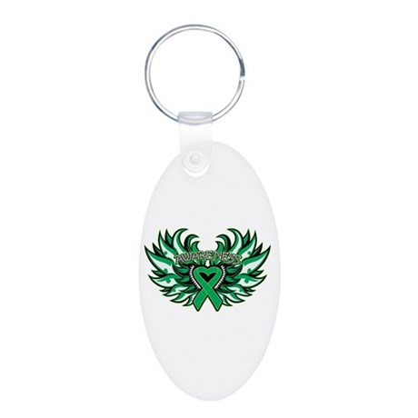Liver Cancer Heart Wings Aluminum Oval Keychain