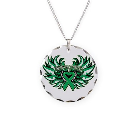 Liver Cancer Heart Wings Necklace Circle Charm
