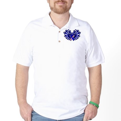 Male Breast Cancer Heart Wings Golf Shirt
