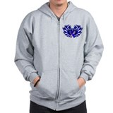 Male Breast Cancer Heart Wings Zip Hoodie