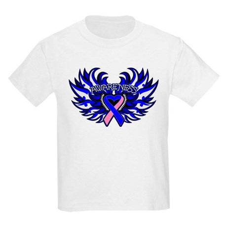 Male Breast Cancer Heart Wings Kids Light T-Shirt