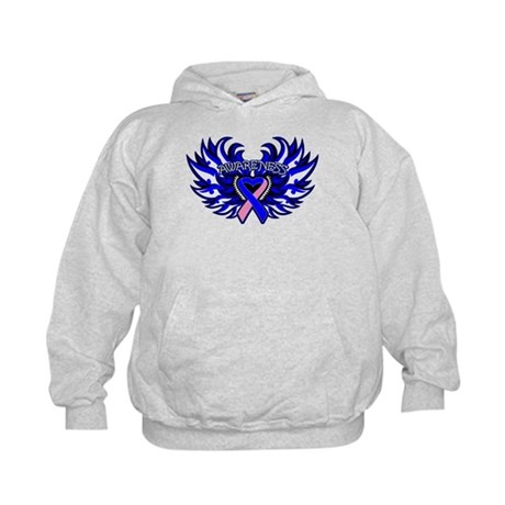 Male Breast Cancer Heart Wings Kids Hoodie