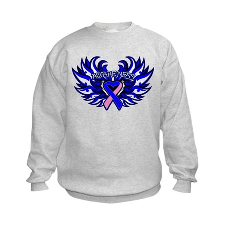 Male Breast Cancer Heart Wings Kids Sweatshirt