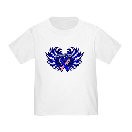 Male Breast Cancer Heart Wings Toddler T-Shirt