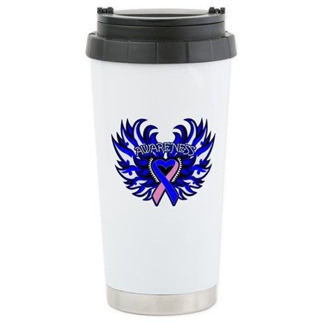 Male Breast Cancer Heart Wings Ceramic Travel Mug